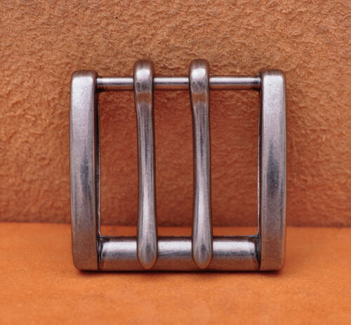 Heavy Duty Silver Double Tongue Pin Prong Pin Belt Buckle Fits 40MM Belt Straps