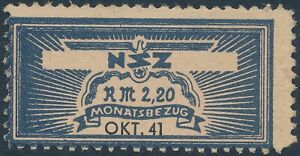 Stamp Germany Revenue WWII 3rd Reich NSZ National Newspaper October 1941 MNG