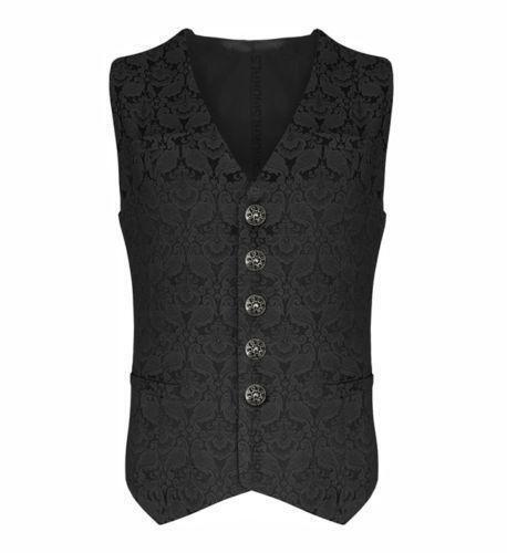 Brocade Mens Vest Waistcoat Gothic Punk Medieval Western-Reenactment Drama Cloth