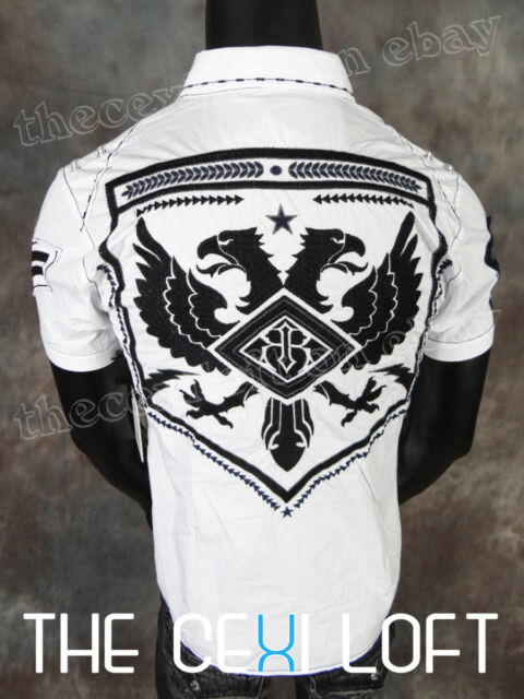 NEW Mens Short Sleeve ROAR Button Shirt STRIKE FORCE JR in White Style W52220jr
