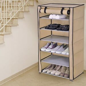 SUPPORT-POUR-CHAUSSURES-Armoire-Pliable-Camping-etagere-fermeture-eclair-tissu