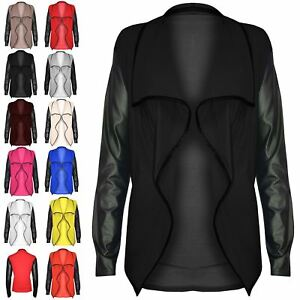 Womens-Ladies-Open-Waterfall-PVC-Wet-Look-Long-Sleeves-Front-Blazer-Cardigan-Top