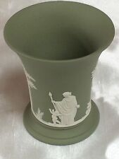WEDGWOOD GREEN JASPER WARE VASE,VINTAGE ITEM 1977,CRISP RELIEF WORK,PERFECT CON
