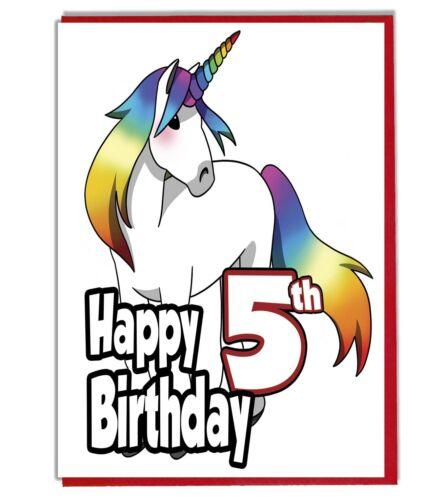 Grandaughter Daughter Girls Friend Rainbow Unicorn 5th Birthday Card
