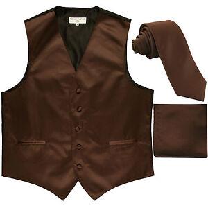"""New Men's Brown formal vest Tuxedo Waistcoat_2.5"""" necktie & hankie set wedding"""