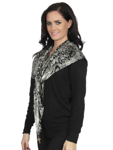 New Classical Womens Black/&White Zebra Print Scarf with Golden Badge Adornment
