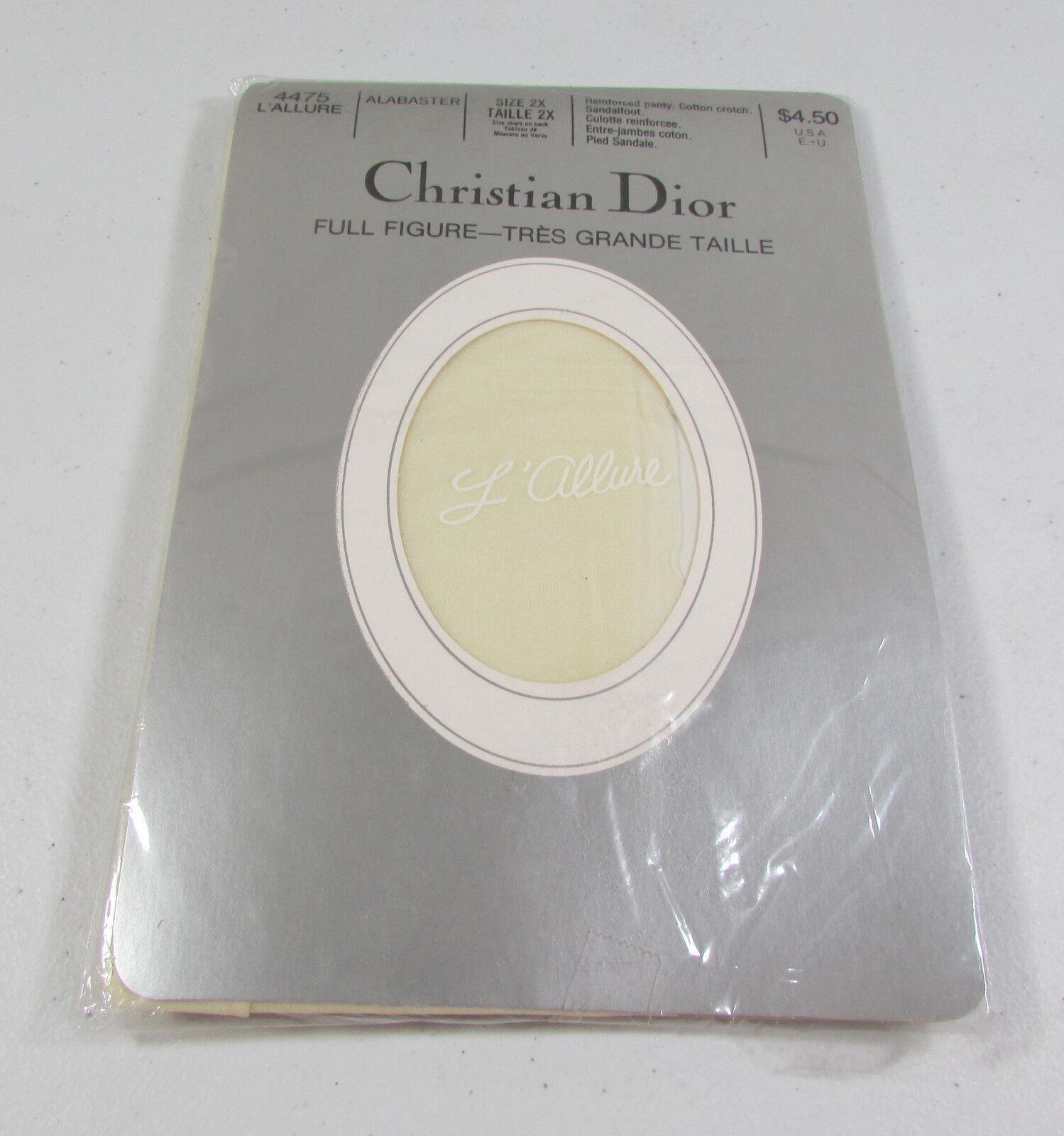 Vintage Christian Dior Full Figure White Alabaster Sheer Pantyhose Size 2X