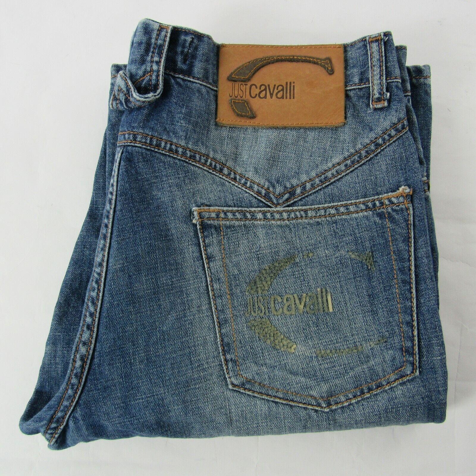 Just Cavalli Jeans 32 x 34 Straight Leg Button Fly bluee Vintage Wash Denim