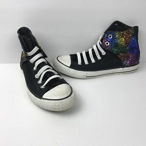 a80de56ec5f1 Converse Junior Chuck Taylor Easy Slip Hi Top Black Rainbow 646180F ...
