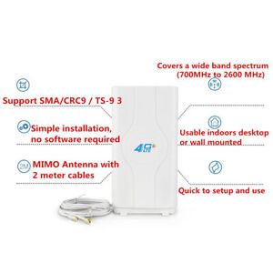 Indoor Blazing Fast 3G 4G 88dBi LTE MIMO Antenna 700MHz-2600MHz 2M SMA Wire