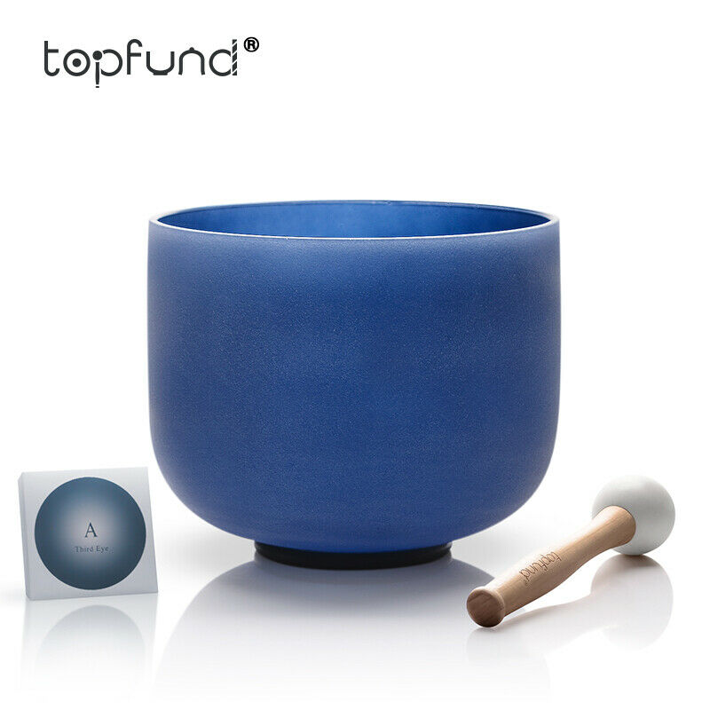 Kristall Klangschale A 3. Auge Chakra Indigo Frosted Singing bowl 20 CM