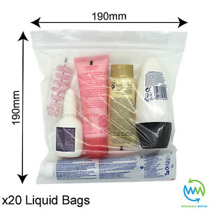 Image Is Loading 20 X Clear Airport Security Liquid Bags Plastic