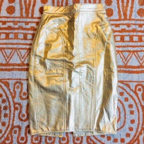 Vintage Metallic Gold Leather Pencil Skirt art dec