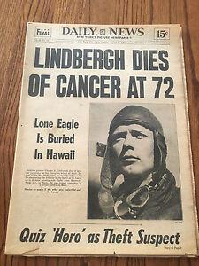 Charles Lindbergh Dies! Original 1974 New York Daily News Newspaper