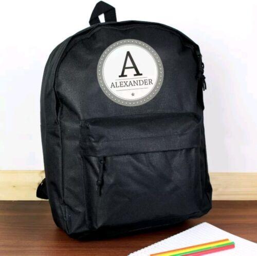 Personalised Black Kids Backpack Rucksack School Bag Birthday Gift