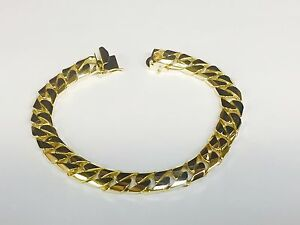 10k solid Yellow gold handmade Curb Link mens bracelet 10 65 Grams 9 MM