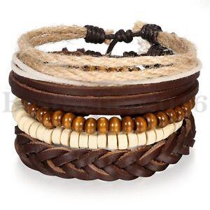 5pcs-Leather-Bracelets-for-Men-Women-Wooden-Beaded-Bangle-Braided-Cuff-Wristband