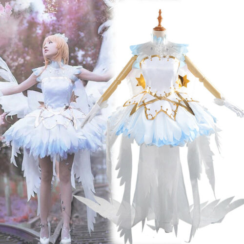 Cardcaptor Sakura Clear Card OP White Snow Angel Cosplay Costume Dress Outfit