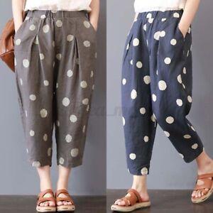 Jolie-Femme-Pantalons-Long-Pois-Taille-elastique-Decontracte-lache-Poche-Plus