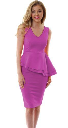 Womens Ladies Sleeveless Side Slant Peplum Frill Pencil Bodycon Party Dress 8-22