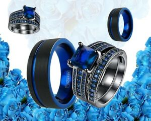 His Tungsten And Her Cz 18k Gold Plated Black Blue Engagement