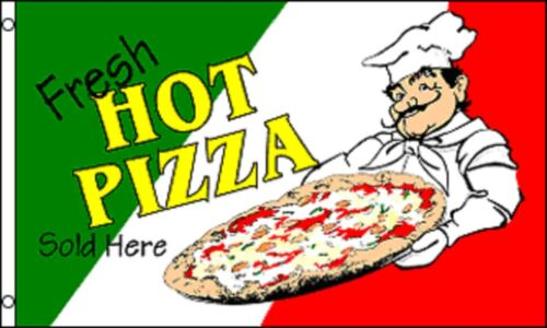 PIZZA venduto qui ITALIA ITALIANA Negozio Segno Pubblicità POS FLAG 5/'x3/'