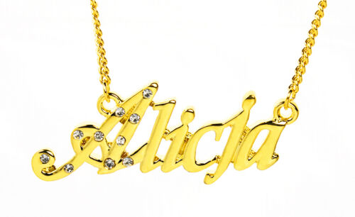 Wedding Necless Birthday Bridal Gift 18K Gold Plated Necklace With Name ALICJA