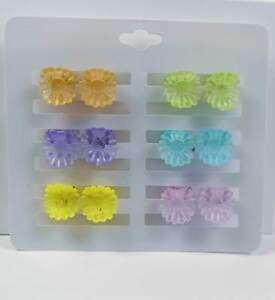 Neu 12-teiliges Set Haarklammern Blume/blumen Haarklammer In Rosa/lila/blau/gelb