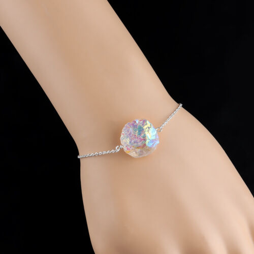 Aura Quartz Beads Bracelet Sterling Silver Handmade Natural Women Christmas Gift
