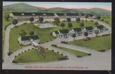 Postcard ROANOKE Virginia/VA  Hollins Motel Motor Court Aerial view 1950's