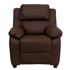 FLASH FURNITURE DELUXE PADDED CONTEMPORARY BRN LEATHER KIDS RECLINER W/ STORAGE