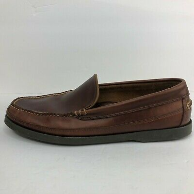 ll bean dark brown leather slip on casual shoes men's size