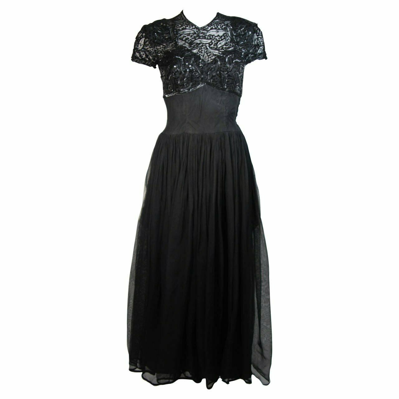 CEIL CHAPMAN Attributed Black Gown Size Small - image 1