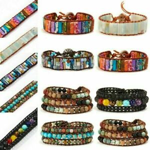 7-Chakra-Beads-Bracelet-Natural-Stone-Tube-Beaded-Wrap-Bangle-Handmade-Jewelry