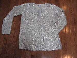 Penni Chico's 1 pour femme Chino Chemise à de boutonné Top col doré en Chandail Nwt Taille fI6zFq