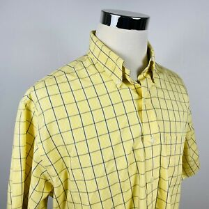Brooks-Brothers-Mens-Large-Non-Iron-Casual-Button-Down-Shirt-Blue-Yellow-Plaid