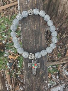 womens hand painted extreme silver shimmer  stretch bracelet with cross