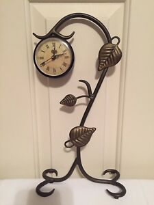 Image Is Loading Wrought Iron Desk Mantel Clock Green