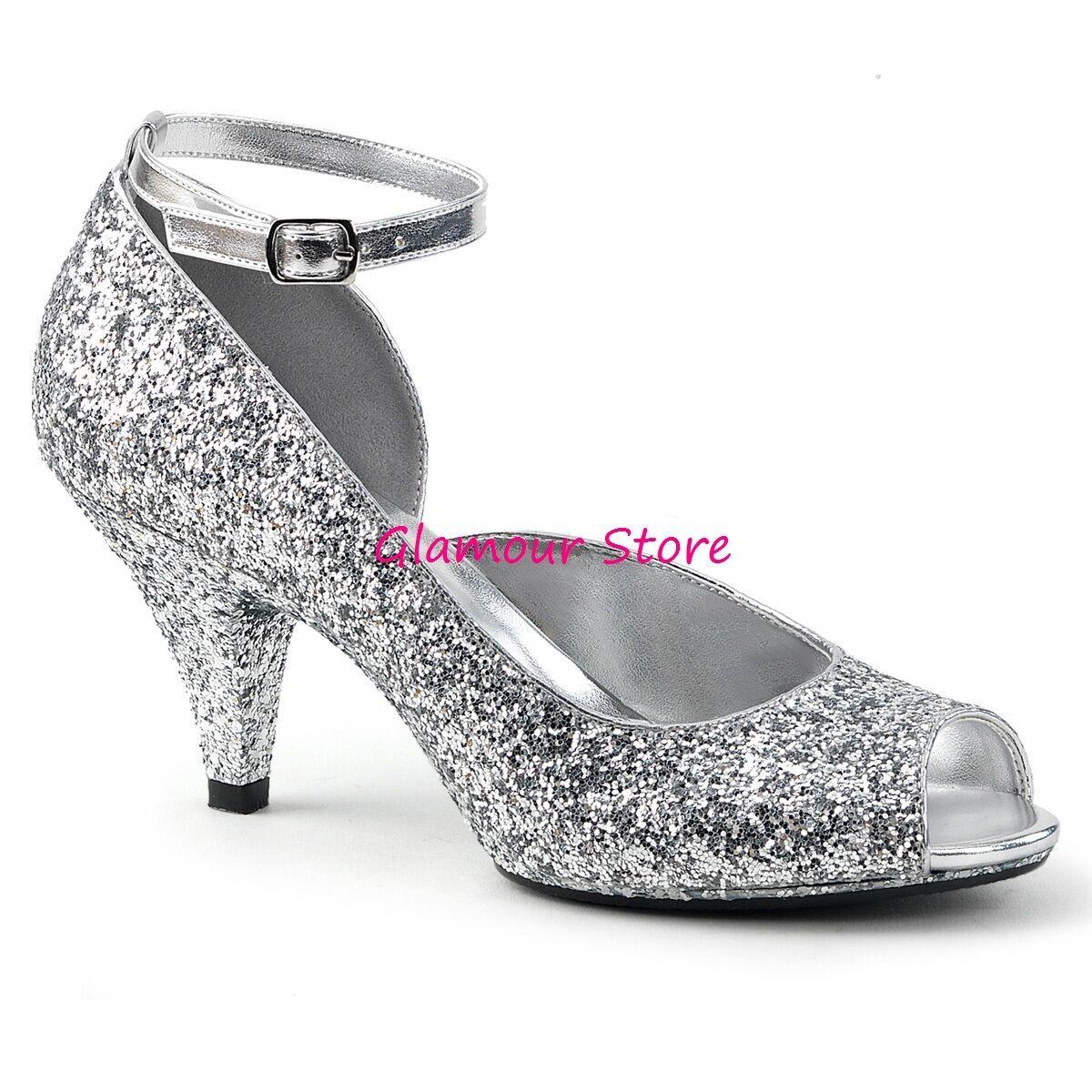 Sexy DECOLTE' GLITTER tacco 7,5 dal 35 al 46 silver cinturino shoes GLAMOUR