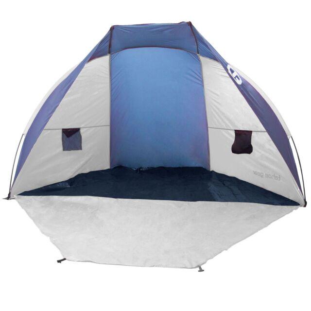 Tahoe Gear Cruz Bay Summer Sun Shelter and Beach Shade Tent Canopy, Blue & White