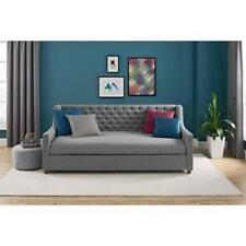 Item 3 Upholstered Daybed Twin Grey Linen Sofa Bed Tufted Day Gray