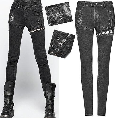 Jeans pantalon destroy gothique punk lolita laçage rivet steampunk sexy PunkRave