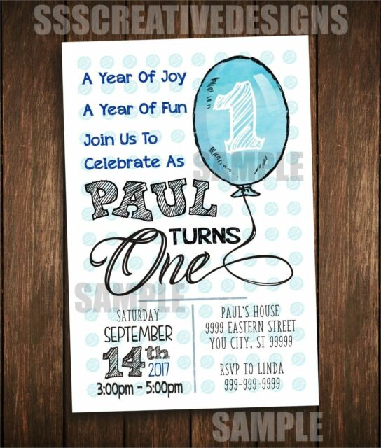 First Birthday Invitation Card 1st Turning One Balloon Cute Set Of 10