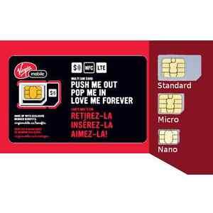 Details about Virgin Mobile Canada Multi SIM Card (Nano + Micro + Regular)  Triple Format LTE