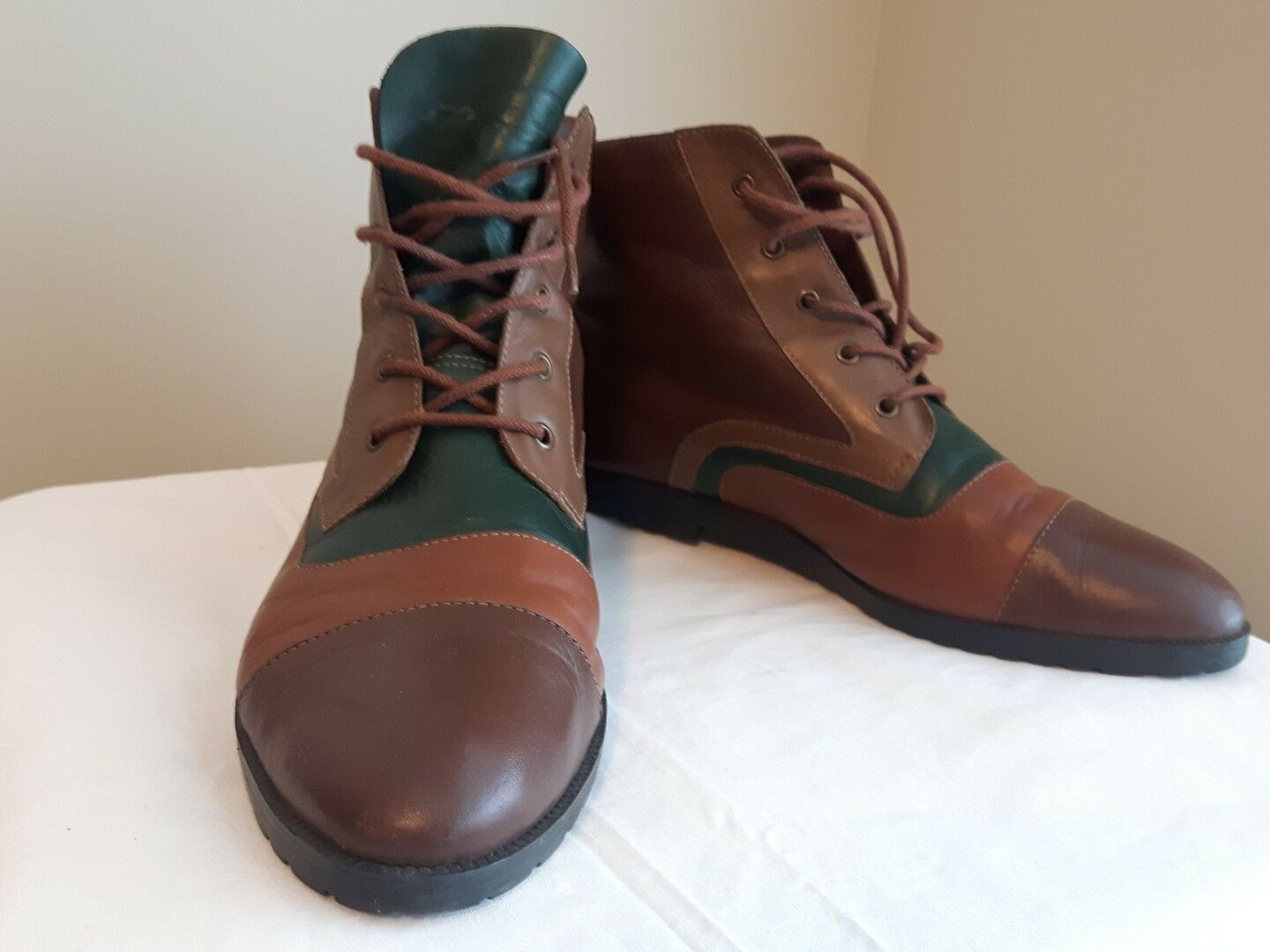 CONNIE supple leather ankle boots color block brown, green carmel 8.5 Brazil