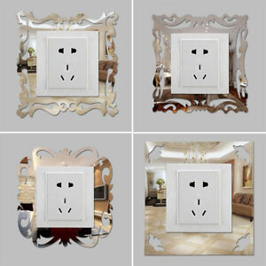 4Pcs-Silver-Mirror-Flower-Light-Switch-Surround-Wall-Sticker-Cover-Frame-Decor
