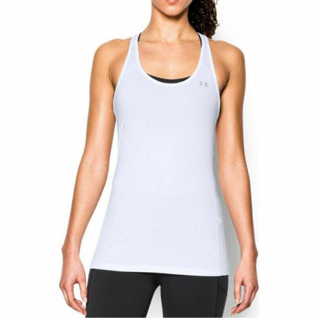 Under Armour UA HeatGear Ladies White Racer Tank Sports Training Running Vest