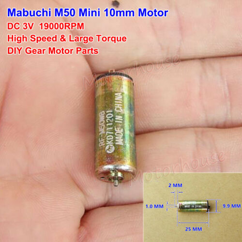 Mabuchi RF-M50 Motor Mini 10mm Cylinder Motor DC 3V 19000RPM High Speed DIY Toy