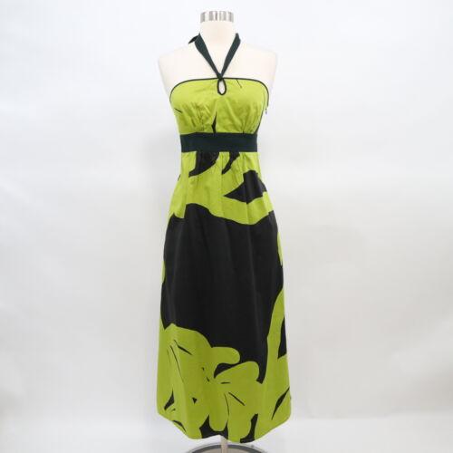 Marimekko Halter Midi Dress Womens Sz 2 Black Lime