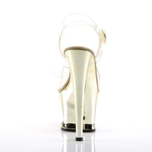 Strap Ankle Pleaser Sandals 708dmch Moon Heel Gold Stiletto Chrome Platform O08p0Wrqw